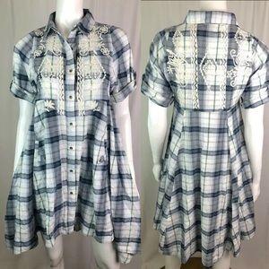 Kyla Seo Plaid Aztec Embroidered Tunic Shirt Dress